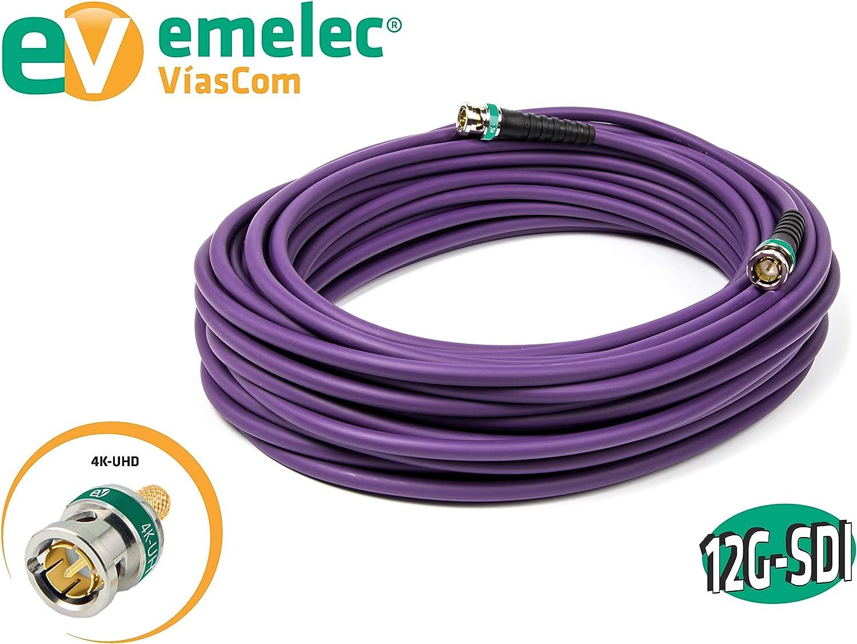 conductor multifilar, 25 m Conexi/ón v/ídeo 4K 12G-SDI con BNC 0.8//3.75 Emelec V/íasCom EQ 152250VI color violeta