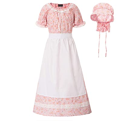 Girls Colonial Costume Prairie Pilgrim Pioneer Floral Dress Size 6-15 Years Old: Clothing