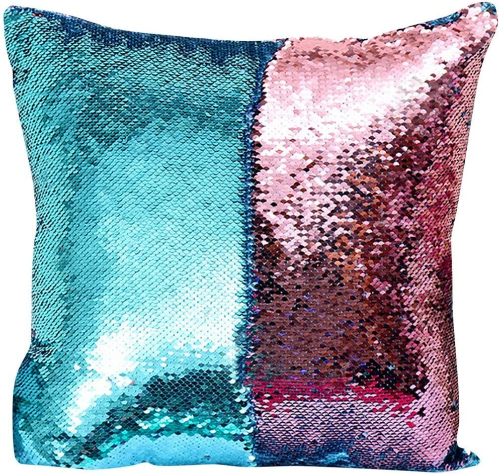 Wonder4 Sequin Pillow Case 1616 inches Reversible Cushion Cover Change Color Cotton Linen Couch Mermaid Throw Pillow Cover for Decoration Pink /& Blue