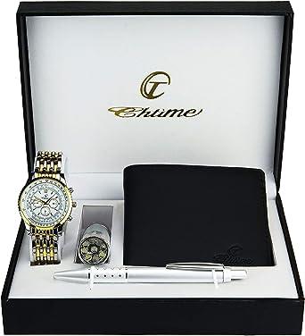 Bellos - Caja de regalo con reloj de pulsera para hombre color dorado, navaja suiza con linterna, cartera y bolígrafo: Amazon.es: Relojes