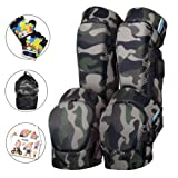Innovative Soft Kids Knee and Elbow Pads with Bike Gloves | Toddler Protective Gear Set w/Mesh Bag | Roller-Skating, Skateboard for Children Boys Girls (Olive Camo, Large (8-11 Years))