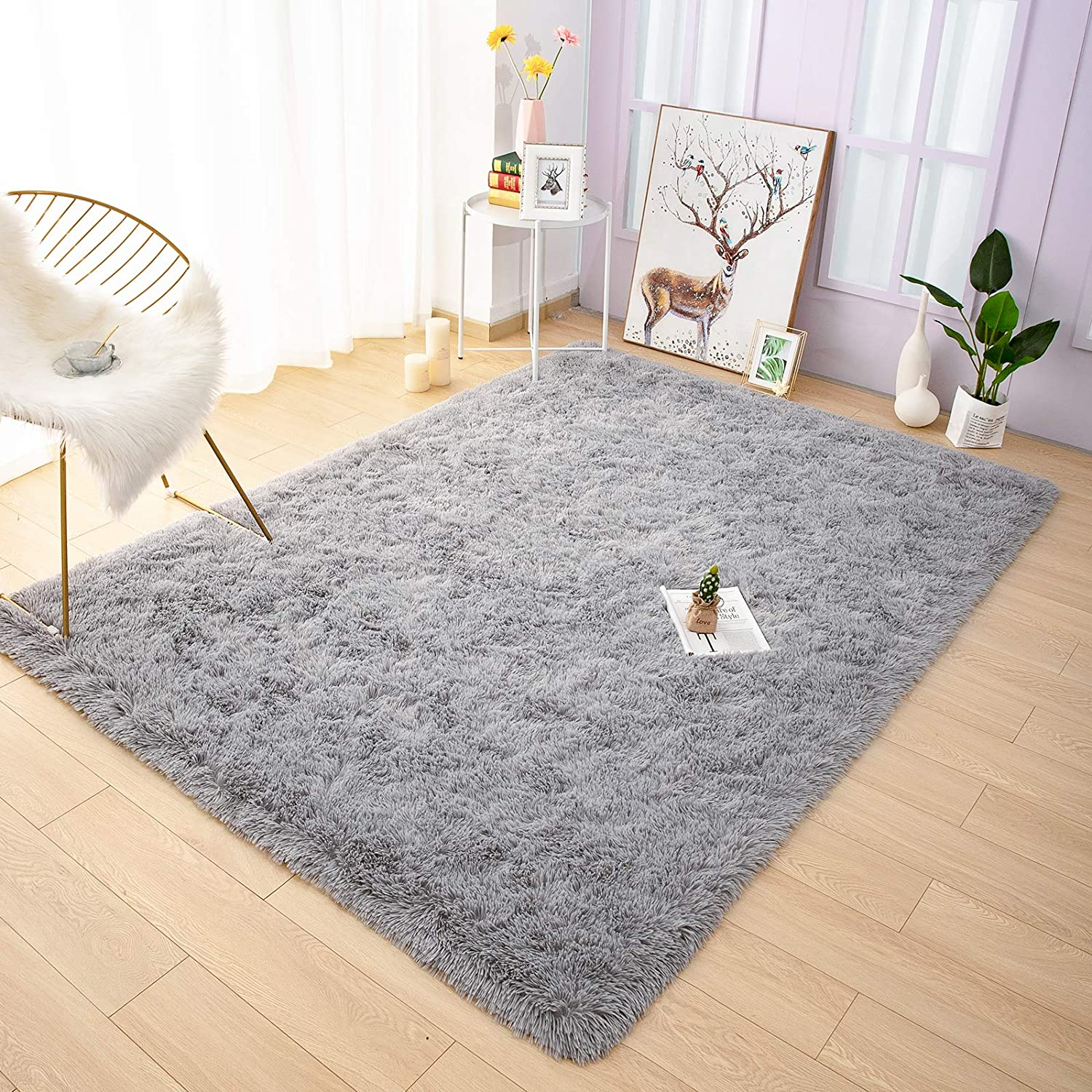 Amazon Com Yoh Fuzzy Soft Modern Shaggy Area Rugs Non Slip Plush Fluffy Bedroom Furry Fur Rugs Indoor Comfy Accent Floor Carpet For Dorm Living Nursery Kids Girls Room Home Decor 5 X 8
