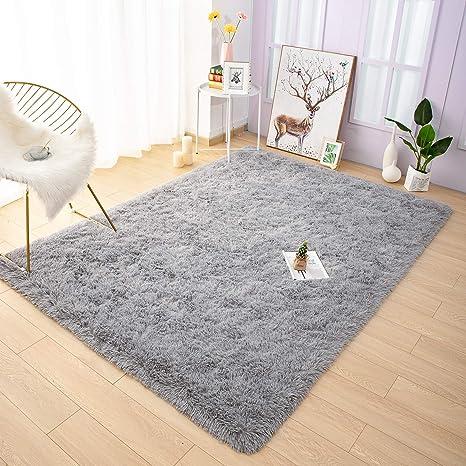 XIYAO Modern Indoor Plush Fluffy Rug Rainbow Rug Carpet Shaggy Floor Mat Extra Soft Area Rugs for Bedroom Living Room Girls Kids Nursery