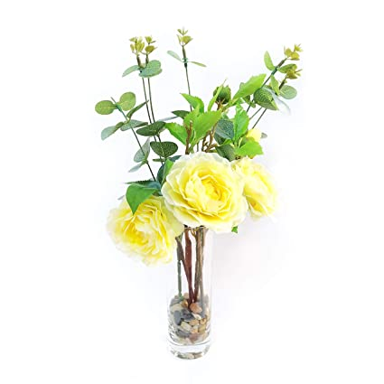 225 & EBUYOM Realistic Artificial Flowers Decorative Silk Camellia Bouquet Flower Arrangement in Glass VaseHome Ornament Wedding Decoration