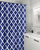 """Geometric Patterned Waterproof 100% Polyester Fabric Shower Curtain for Bathroom 72"""" x 84"""" Extra Long- Navy Blue"""