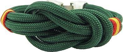Pi2010 - Pulsera España Nudo Doble Verde, 19cm / Cinta Bandera de España en Laterales/Recomendable medirse la muñeca: Amazon.es: Joyería