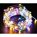 Starry String Lights Multi Color LED's on a Flexible Silver Copper Wire - LED String Light with 120 Individually Mounted LED's, 20ft