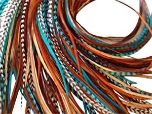 Feather Hair Extensions, 100% Real Rooster Feathers, Long Natural and Turquoise Blue Colors, 20 Feathers with Bonus FREE Beads and Loop Tool Kit NBT