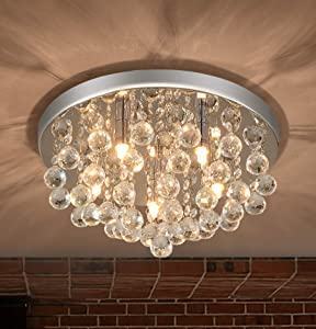 "PUSU Modern Chandelier Lighting for Dining Room 5G9 Minimalist Home Decor Crystal Kitchen Lighting Large Size D15.5"" Chandeliers for Bedrooms Crystal Living Room Light Flush Mount"