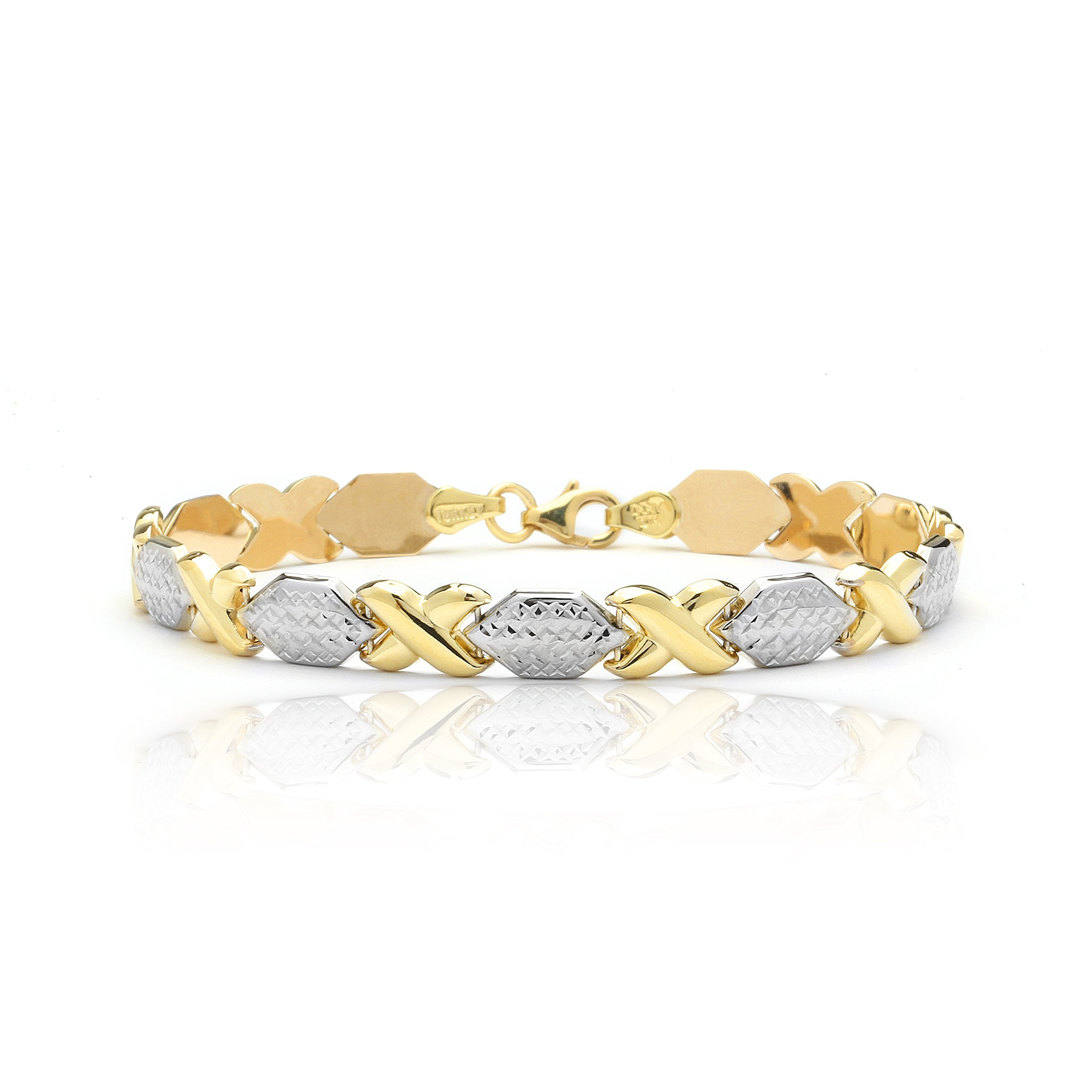 7 Inch 10k Two-Tone Yellow and White Gold Stampato Xoxo X & O Hugs Kisses Love Chain Bracelet by SL Gold Imports