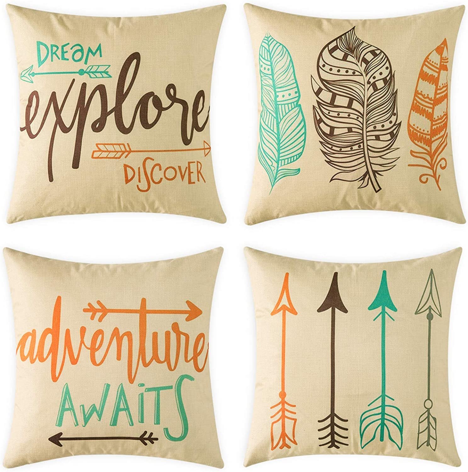 Woaboy Set of 4 Cotten Linen Pillow Cover Arrow and Feather Printed Pillowcase Square Decorative Cushion Cover Soft for Car Sofa Bed Couch Living Room 18 x 18Inch 45 x 45cm