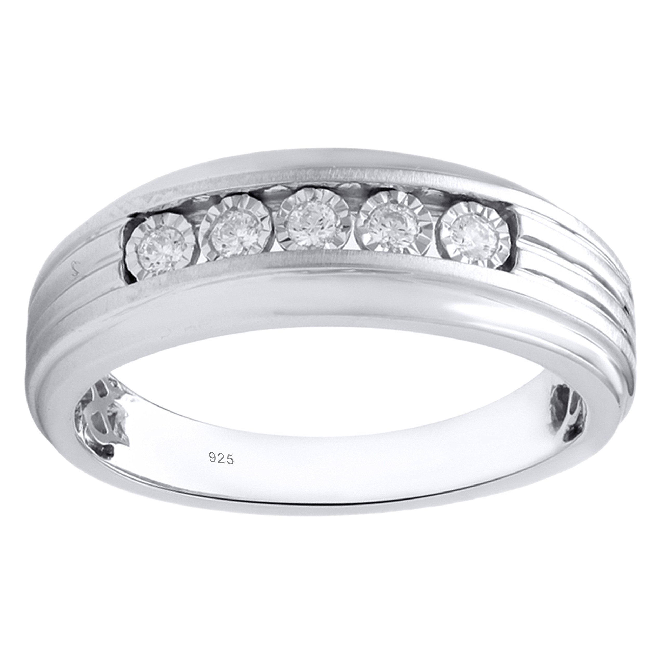 10K White Gold 1/6cttw Men's Diamond Wedding Ring by Diamante