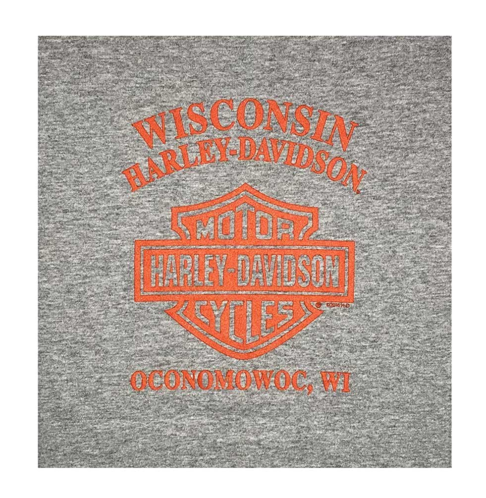 Gray HARLEY-DAVIDSON Big Boys Flaming Shield Short Sleeve Crew-Neck Tee