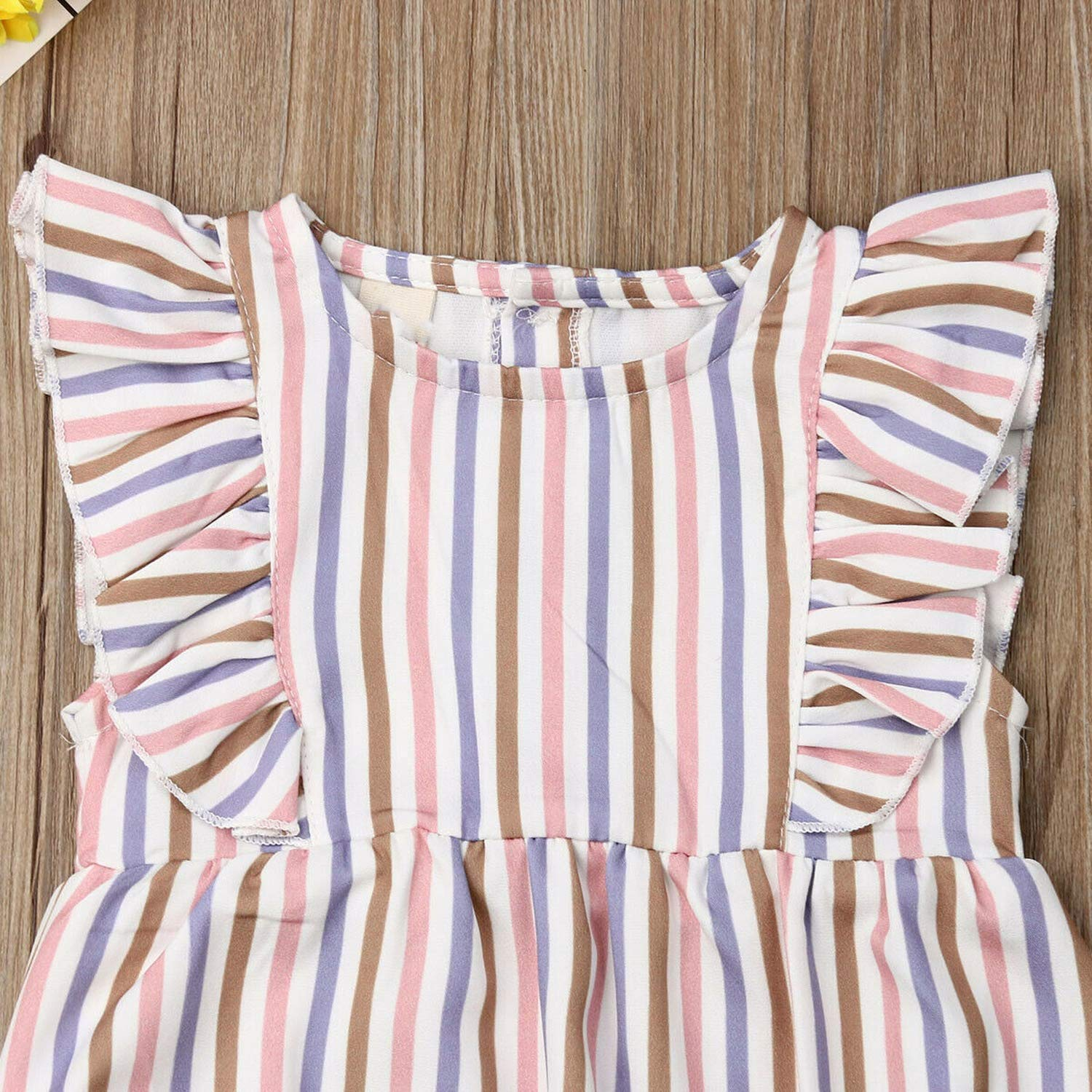 beauty-crystal Cute Baby Girls Striped Bodysuit Jumpsuit Playsuit Outfit Summer Clothes