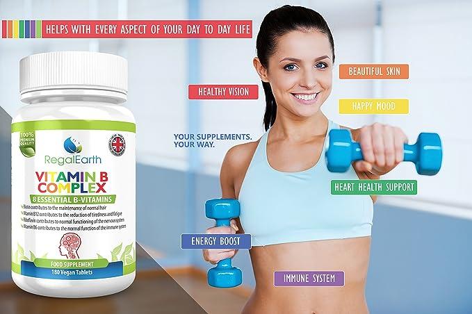 La vitamina del complejo B - 8 vitaminas esenciales, 6 Meses complementar el suministro - Soporta pelo, sistema nervioso, sistema inmune, reducción de la ...