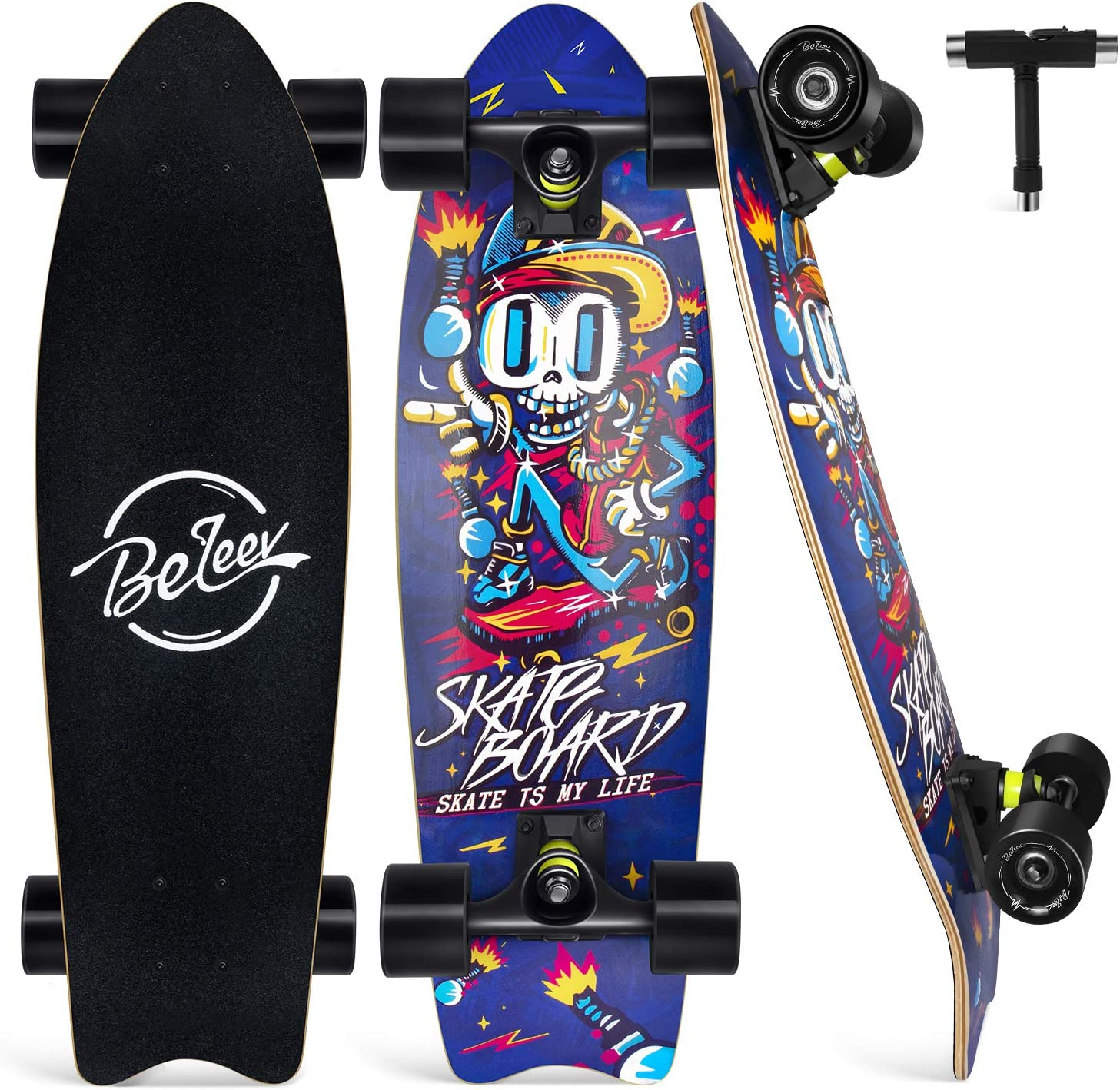 27 Inch Complete Skateboard for Kids Teens Adults 7 Layer Canadian Maple Double Kick Deck Concave Trick Skateboard Beleev Cruiser Skateboards for Beginners