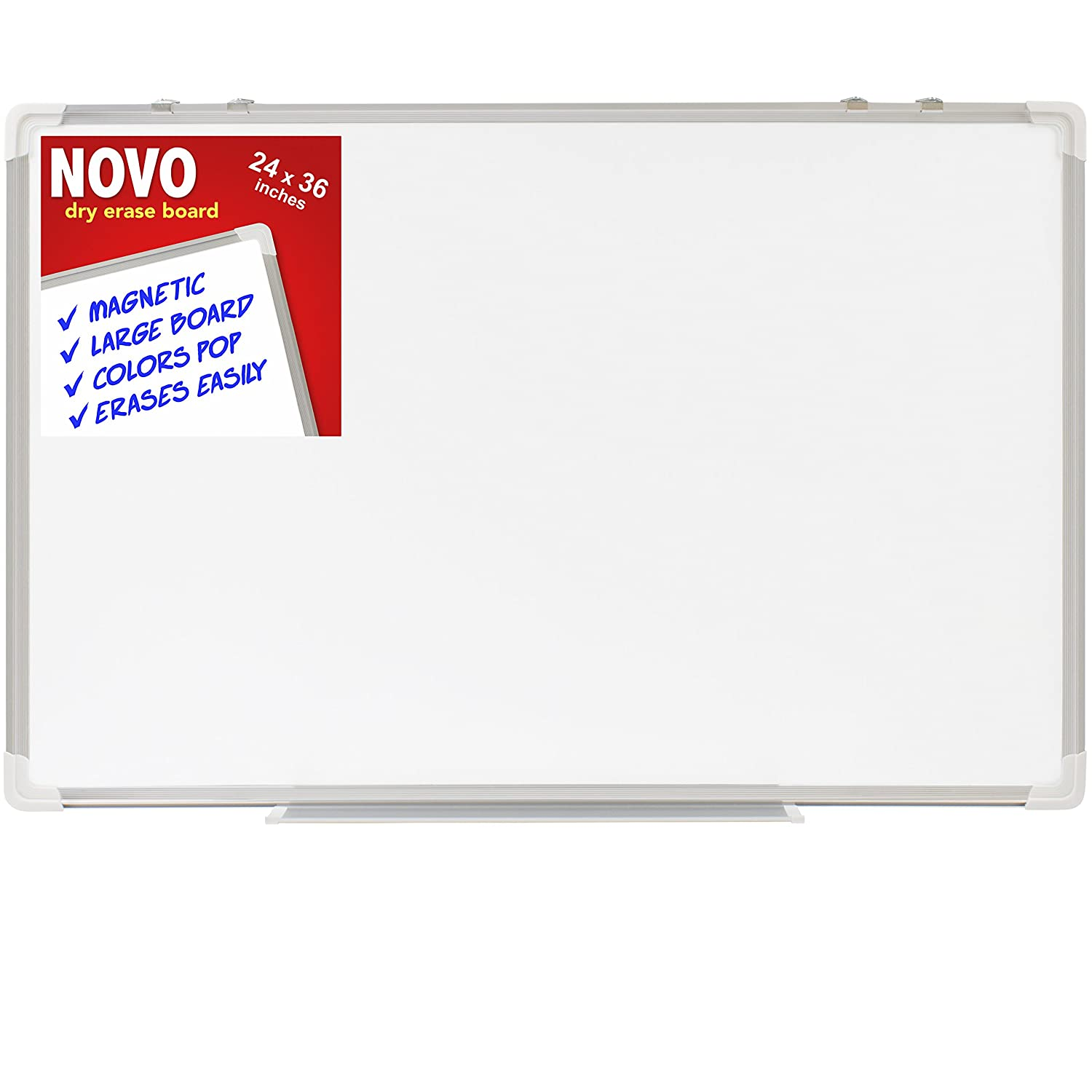 Dry Erase Board 24x36 | LARGE Magnetic Whiteboard with Aluminum Frame | Dryerase Marker Boards for Office Bulletin or Calendar | Melamine Perfect for Easel and Universal Black Erasers Markers Novo Basics DRYERASE2436