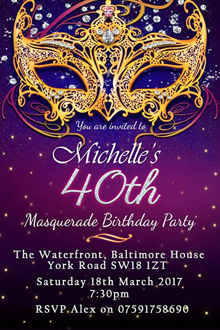 Masquerade Birthday Party Invitations Any Age Pack Of 24