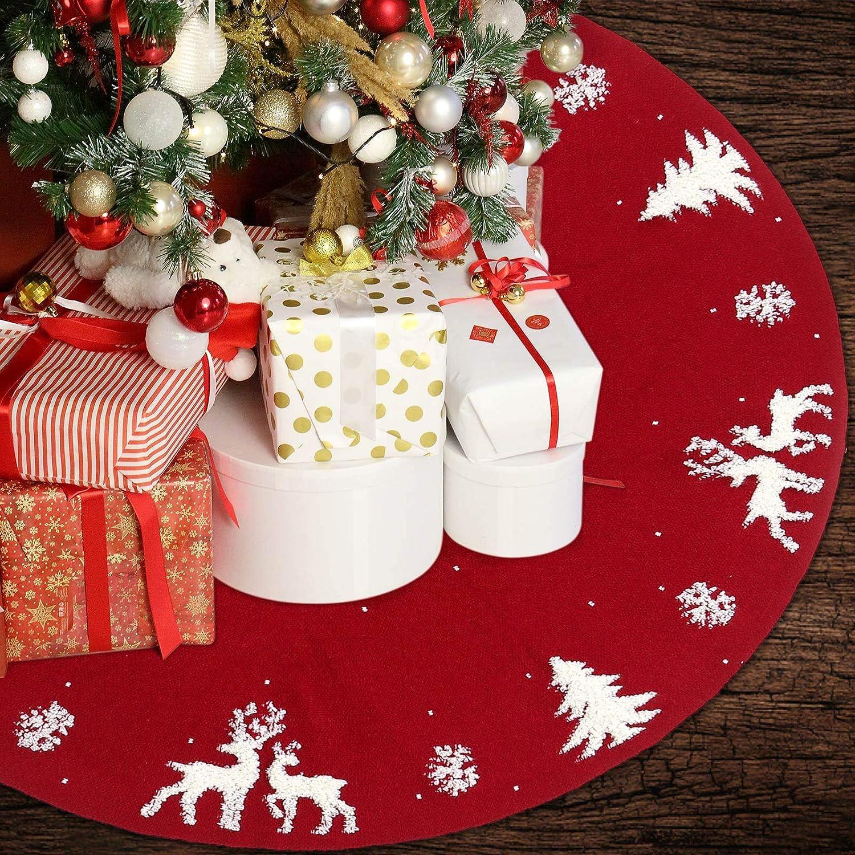 "Christmas Tree Skirt Decorations Knit Red Floor Mat 48"" Handmade Soft Thick Rustic Farmhouse Xmas Holiday Indoor Decor Burgundy"