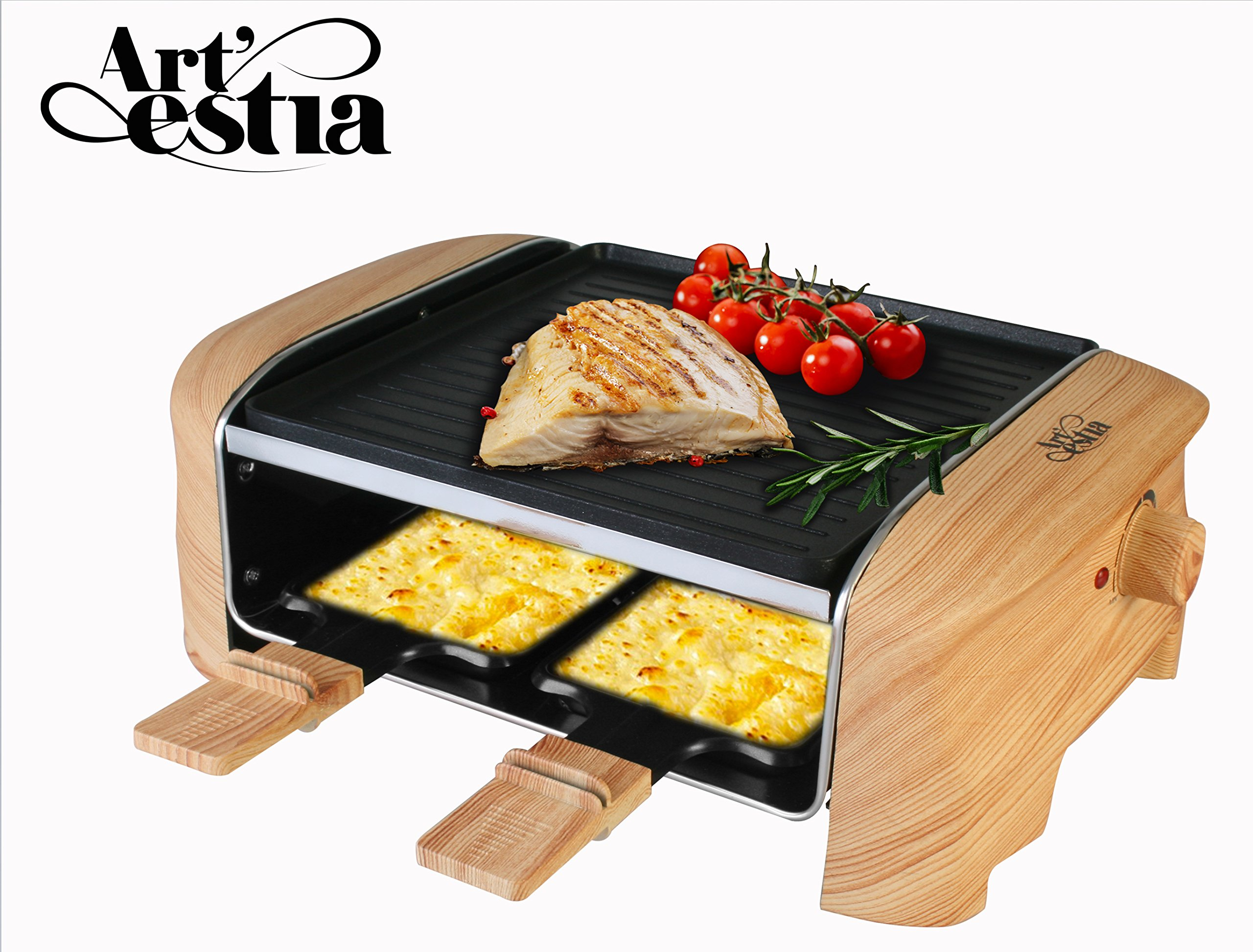 Artestia Electric Raclette Grill with Non-Stick Aluminum Plate, 600W Max Power ETL Certified (Aluminum Reversible Plate Half Size Raclette)
