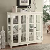 Wood White Accent Glass Cabinet with Glass Panel