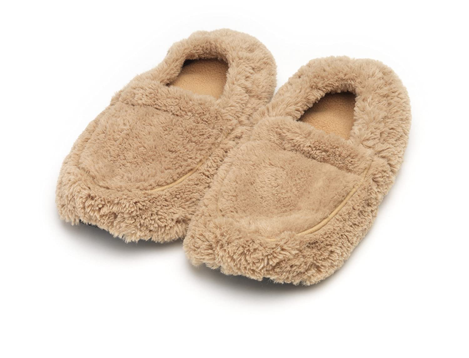 Furry Warmers Fully Microwavable Furry Slippers Beige HealthCenter FW-SLI-2