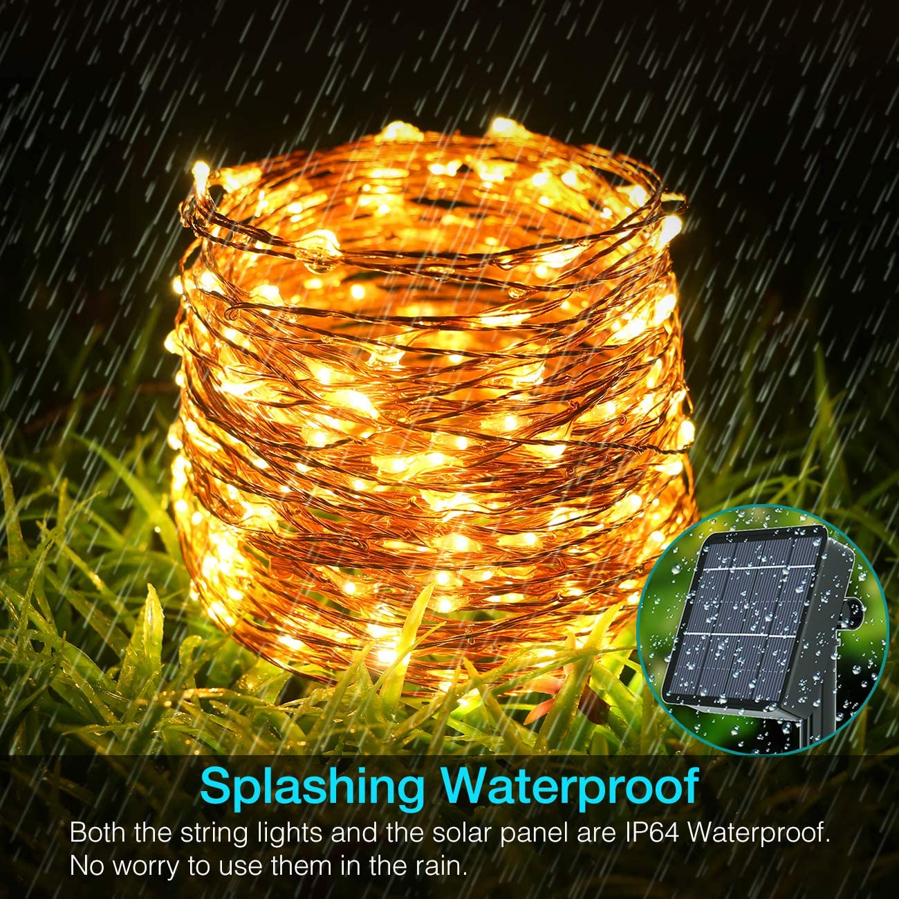 Kolpop Solar String Lights Outdoor, 79ft 240LED 8 Modes Solar Fairy Lights Outdoor Waterproof Copper Wire Solar Powered String Lights for Garden Christmas Tree Patio Home Wedding Yard (Warm White): Home Improvement