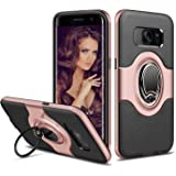 Galaxy S7 Edge Case [Metal Ring Holder Kickstand] ELOVEN Impact Resistant Anti-Scratch Shockproof Dual Layer Back Bumper Cover Non-slip Grip Protective Case Shell for Samsung Galaxy S7 Edge(RoseGold)