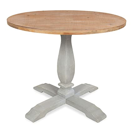 . Kate and Laurel Bellmead Wood Round Pedestal Dining Table  Natural and Gray