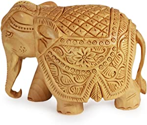 NOVICA Brown Elephant Kadam Wood Sculpture, Majestic Elephant' (Small)