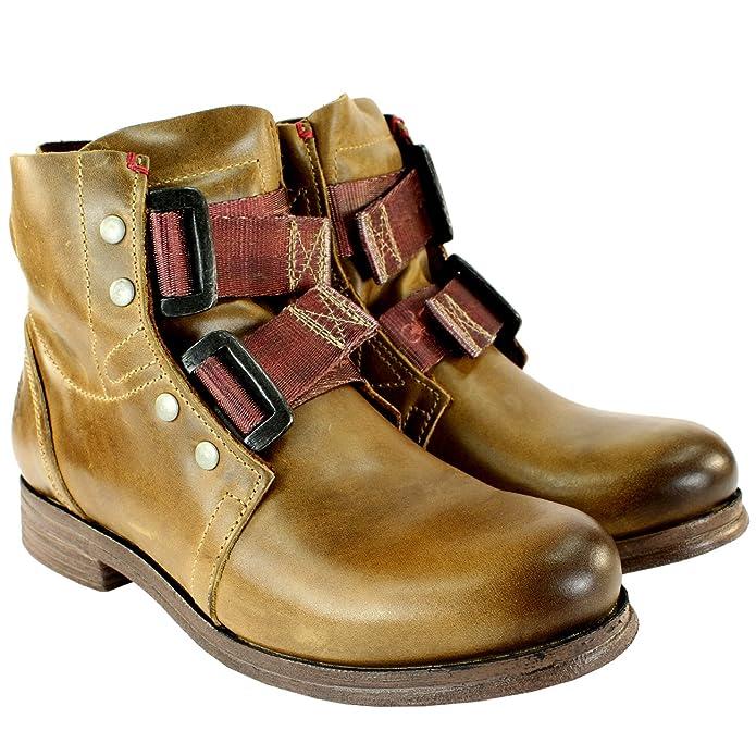 Fly London Ska Damen Schuhe Schließe Lederstiefel Military Biker Boots
