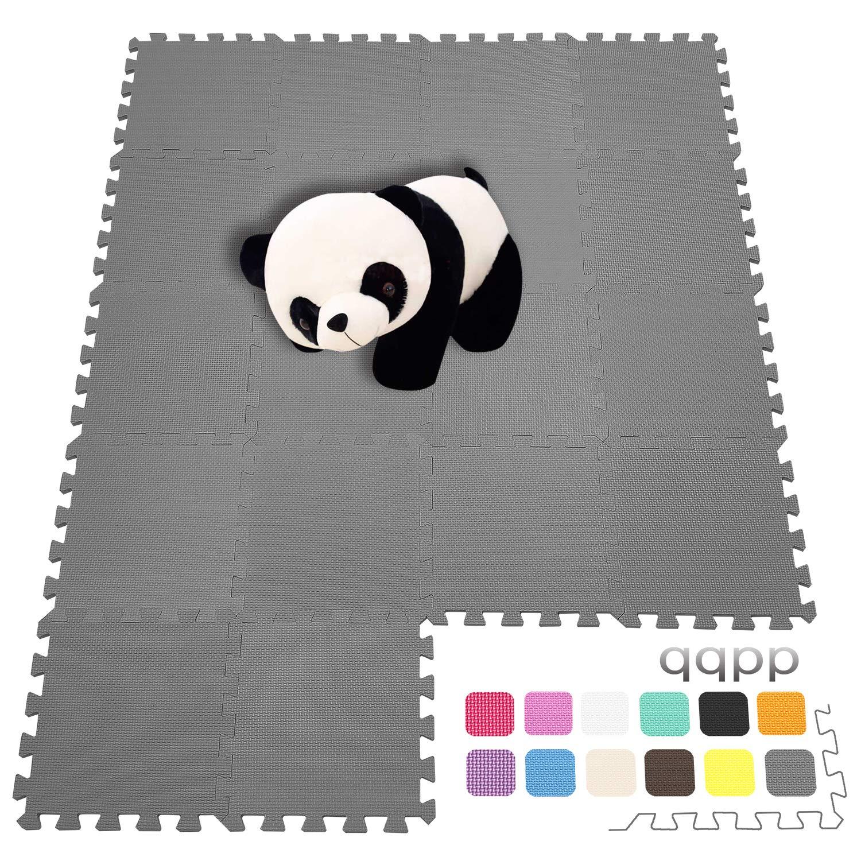 qqpp Tapis de Puzzles 18 Dalles Color/ées /à Imbriquer 30 x 30 cm Tapis de Sol Enfant et B/éb/é en Mousse Id/éal pour l/Éveil de lenfant QQCDW101104G301018