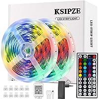 Ksipze Tiras LED 10m Luces LED RGB con Control Remoto y Fuente de Alimentación de 12V, 20 Colores y 8 Modos de Escena…