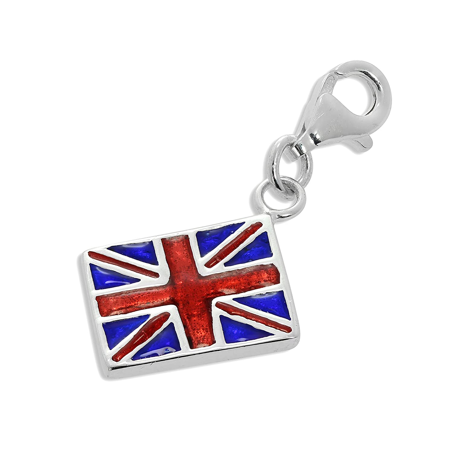 Sterling Silver Enamelled Union Jack Flag Clip on Charm TheCharmWorks HAR-0865