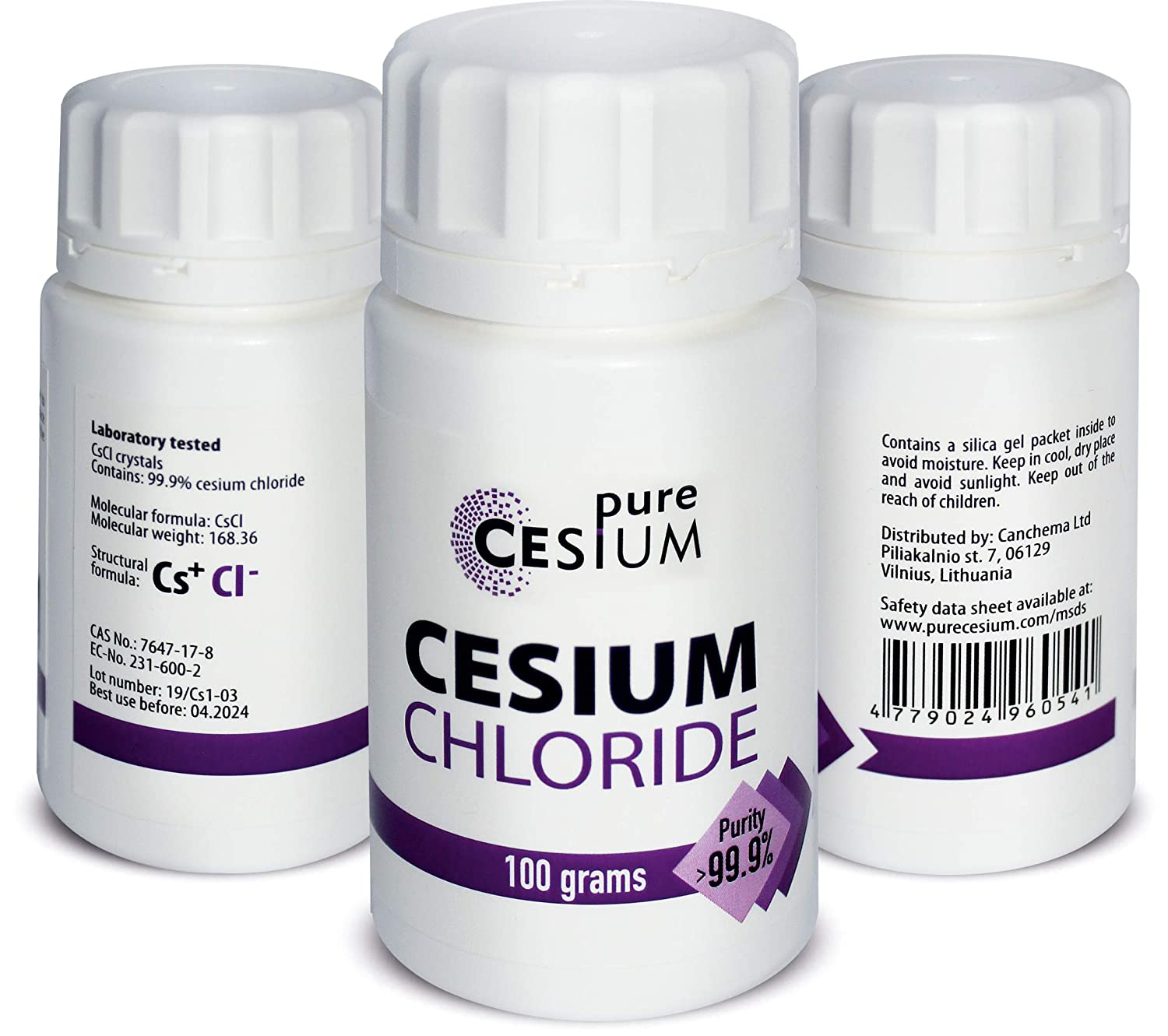 Pure Cesium Chloride CsCl 100g Powder, Purity >99 9%, by
