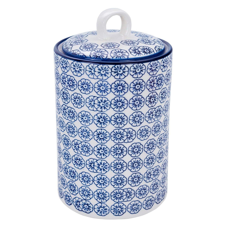 Nicola Spring Patterned Porcelain Kitchen Utensil Holder Pot Blue Flower Print Design