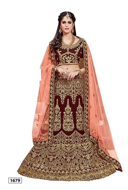 05ad282d4d Ashika Women's Raw Silk Embroidered Lehenga Choli with Dupatta (Dark Maroon):  Amazon.in: Clothing & Accessories