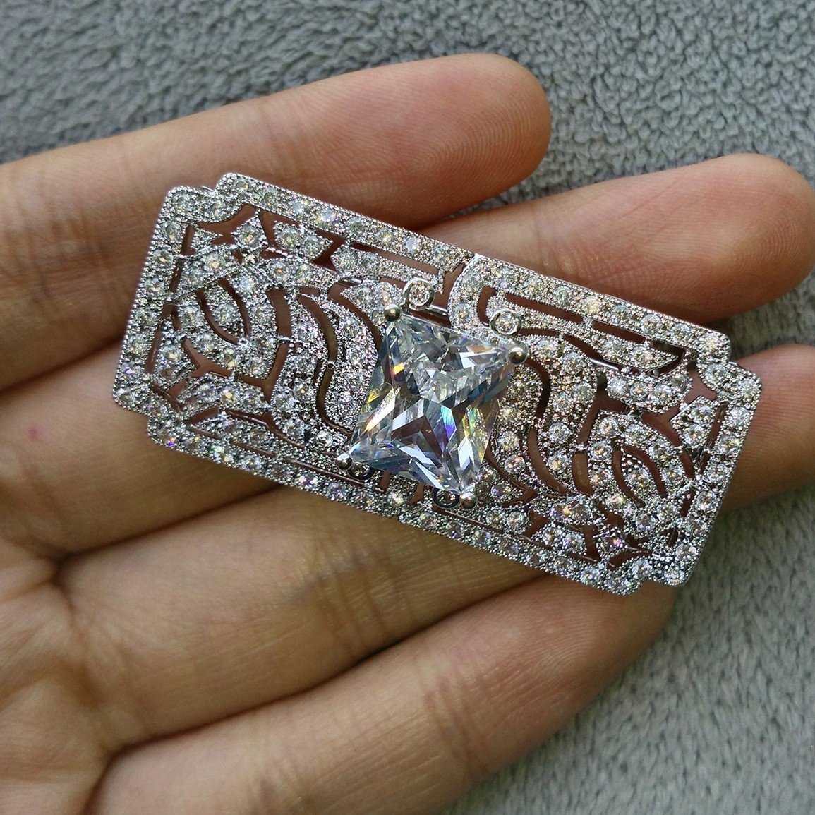 GULICX Wedding Vintage Art Deco Zircon Brooch Pin Silver Plated Base Bride Prom White Clear Accessory by GULICX (Image #5)