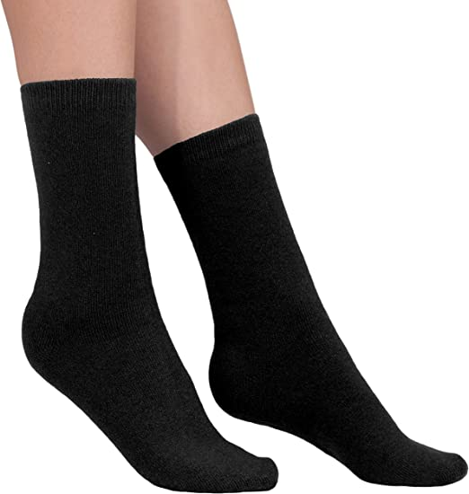 Women 100/% cashmere bed socks black ankle length Large