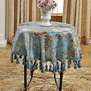 Jacquard Manteles Toalla de Tela Cubierta de café patrón Raya Elegante Distinguido Gama Alta Lujoso romántico Art estética (Size : 260cm (Round Table)): ...