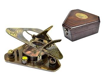 La nueva tienda Antiguo Reloj De Sol Brújula 4 en caja de madera, latón - Reloj solar de bolsillo West de Londres: Amazon.es: Deportes y aire libre