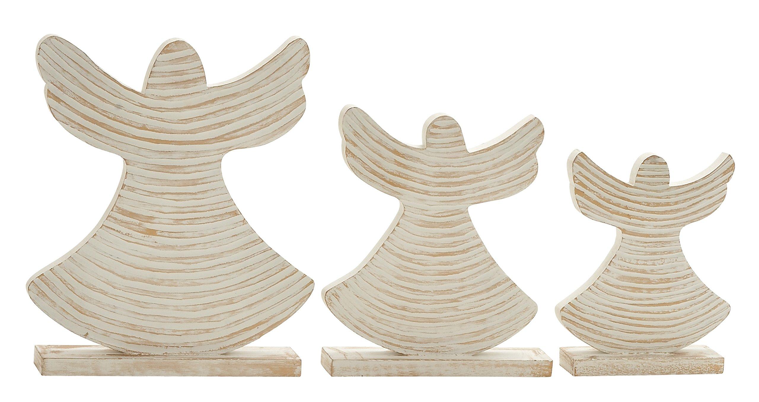 Plutus Brands UE5117 Delightful Wood Angel (Set of 3)