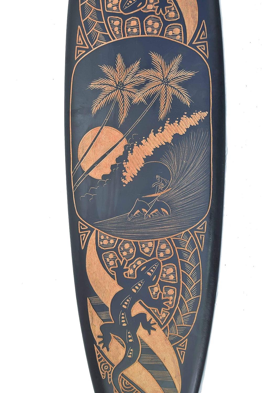 Interlifestyle Deko Surfboard 100cm mit Geckos Palmen Meer Motiv Hawaii Holzschild Surfbrett Maui Kauai Oahu