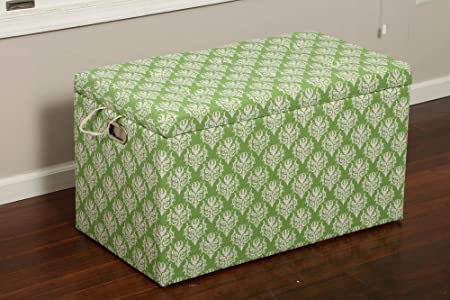 Oliver and Smith Cloth Storage Ottoman With – 3 Ottomans 2 Stools – 33 x 17.5 x 18.5 – 1339 Victorian Green and White