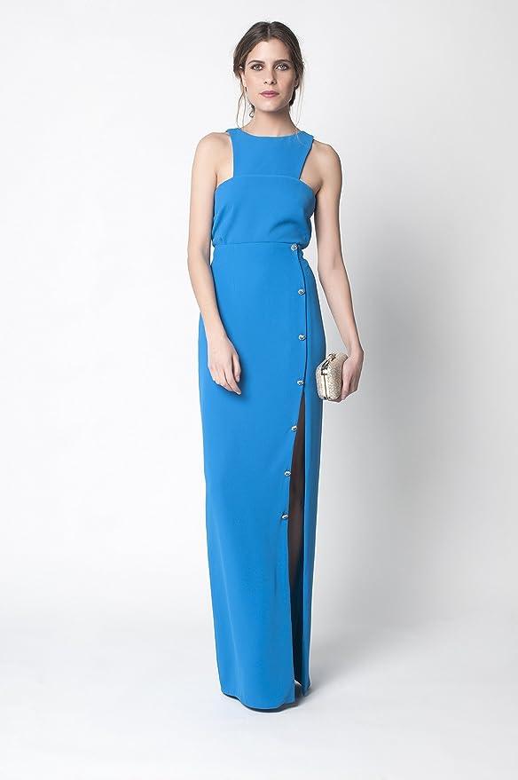 David Christian: falda larga de crepe azul con abertura lateral ...