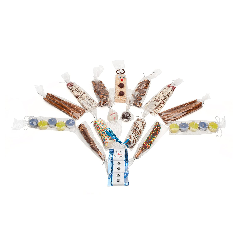 /komplett mit 125/Silber Twist Ties l.s.p./ /125/St/ück transparente Zellophan Treat Party Favor Sweet Tasche/ Schokolade /CELLO Geschenk Tasche f/ür Candy Breze Cake Pops oder Biscotti/