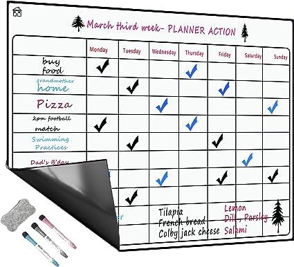 Tableau Blanc Magnétique A3+ Pour Frigo,Cuisine Menu Liste des  Courses,Rappel Quotidien Planifier,Gribouillis des Enfants Tableau  Aimanté,Flexible ...