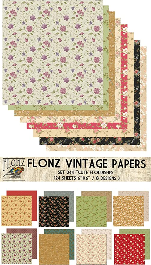 24sh 6x6 Paper Pack Roses Patterns FLONZ Vintage Paper for Scrapbooking and Craft