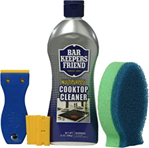 Bar Keepers Friend Ceramic & Glass Cooktop Cleaner 13 oz bottle | DishFish Dual Scrubber | BKF Flat-Surface Scraper w/Replacement Blades - Safe for Use on Glass Ceramic Cooking Surfaces, Copper, Brass