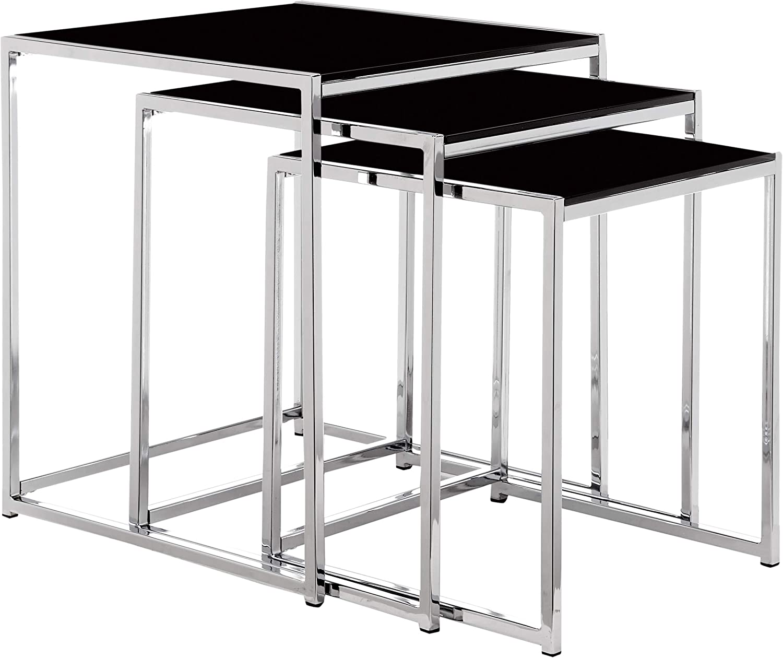 AC Design Furniture 0426862149 Gurli - Mesa Triple (Vidrio Negro ...